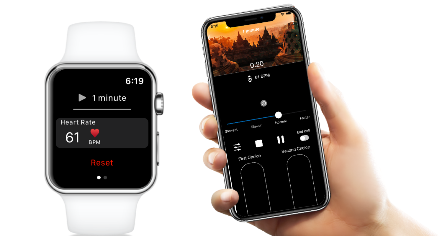 MindFlow Guided Meditation App - Apple Watch pacing